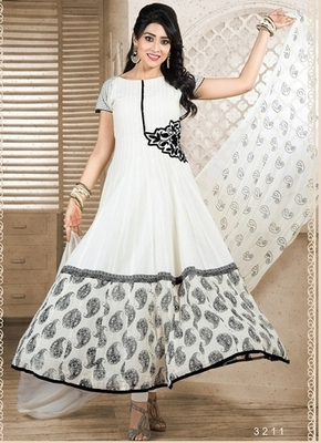 Offwhite Colour Embroidered Cotton  Semi Stitched anarkali suit