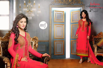 Pink  Colour Embroidered Georgette  Semi Stitched Straight Cut suit