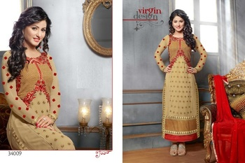Light Brown  Colour Embroidered Georgette  Semi Stitched Straight Cut suit