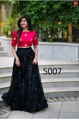 af0bb813a004b Black embroidered net unstitched lehenga with dupatta - Bridal Creation -  2212834