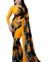 Buy Yellow printed georgette saree with blouse great-indian-saree-festival online