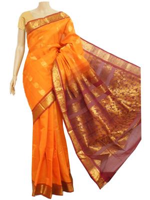 Saffron and maroon zari work south cotton saree without blouse