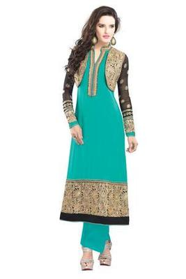 Sky Blue Embroidered Georgette Semistitched