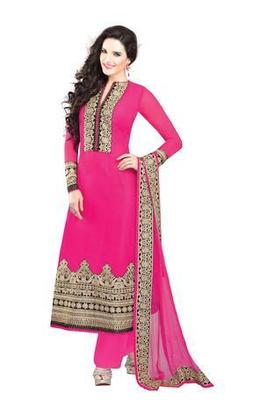 Pink Embroidered Georgette Semistitched