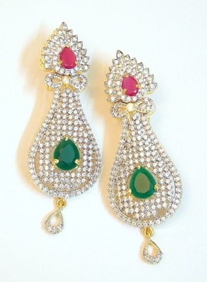 COLORED STONE AD STUD GOLDEN DANGLER EARRING