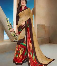Buy Beige printed georgette saree with blouse diwali-sarees-collection online