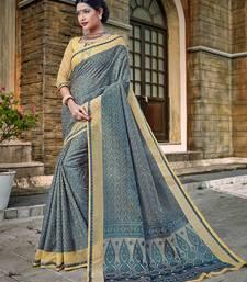 Buy Grey woven banarasi silk saree with blouse diwali-sarees-collection online