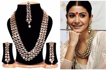 2232b85925dd9 Anushka sharma bollywood traditional kundan pearl necklace set with free  mang tika