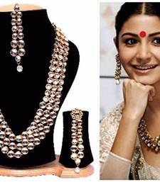 Buy Anushka Sharma Bollywood Traditional Kundan Pearl Necklace Set with Free Mang Tika necklace-set online