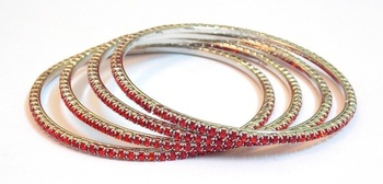 RED STONE STUD SILVER BANGLES