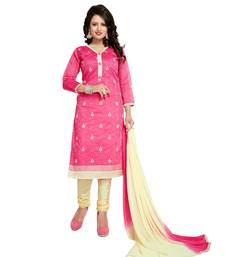 Buy Pink embroidered chanderi salwar chanderi-salwar-kameez online