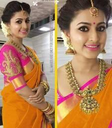 Buy Orange plain chanderi saree with blouse cotton-saree online