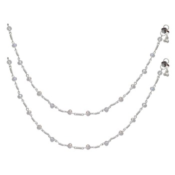 Festive Special White Color Glass Stone Anklet