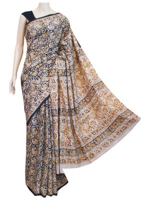 Black cotton Kalamkari saree with blouse
