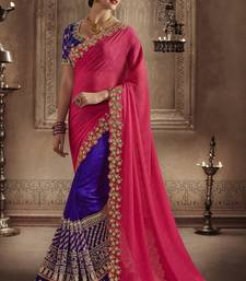 Buy Navy blue embroidered faux silk saree with blouse designer-embroidered-saree online