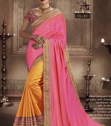Buy Pink embroidered faux silk saree with blouse designer-embroidered-saree online