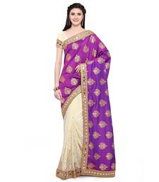 Buy Purple embroidered faux jacquard saree with blouse designer-embroidered-saree online