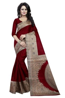 Maroon printed art silk saree