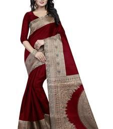 Buy Maroon printed art silk saree  kalamkari-saree online