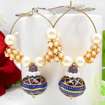 Meenakari Ball Loop Chandelier Earring Violet Blue Black
