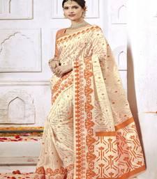 Buy Beige woven silk cotton saree with blouse cotton-silk-saree online