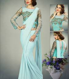 Buy Light blue embroidered fancy fabric saree with blouse pre-stitched-saree online