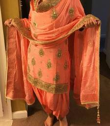 Buy Orange embroidered silk salwar with dupatta patiala-salwar online