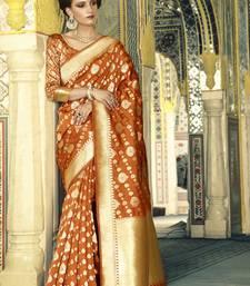 Buy Rust woven silk saree with blouse handloom-saree online