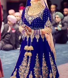 Buy Blue embroidered velvet salwar with dupatta semi-stitched-salwar-suit online