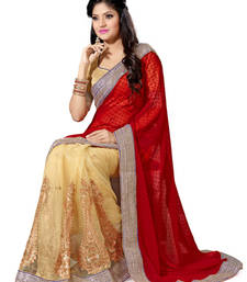 Buy Beige and Red Color Net and Faux Georgette Saree with Blouse party-wear-saree online