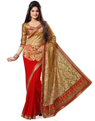Red and Beige Color Faux Georgette and Net Brasso Saree with Blouse