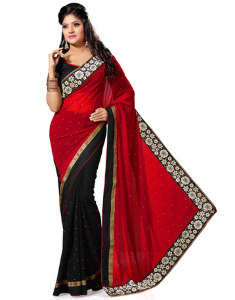 cfb0977167 Black and Red Color Faux Georgette Saree with Blouse - Saree Swarg ...