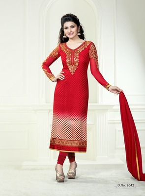 Rich Red Embroidery Pure Brasso Semi Stitched Designer Straight Suit