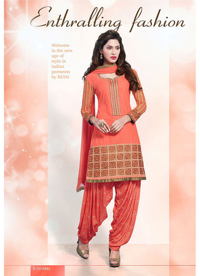 Astonishing Orange Coloured Patiala Suit