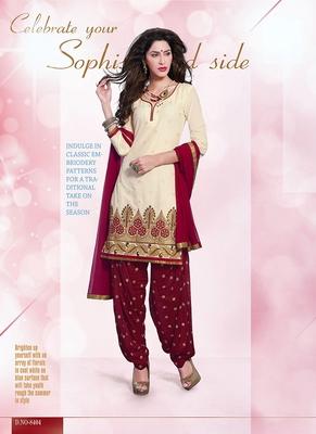 Astonishing Beige & Maroon Coloured Patiala Suit