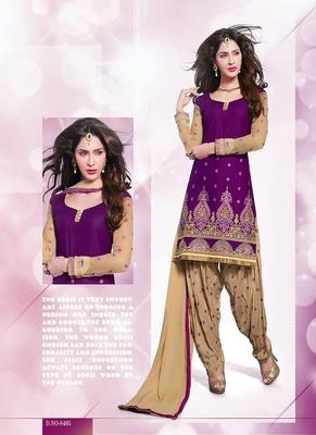 Astonishing Purple & Cream Coloured Patiala Suit