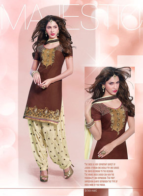 Astonishing Brown & Beige Coloured Patiala Suit