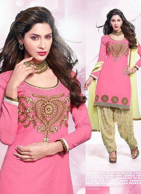 Astonishing Pink & Beige Coloured Patiala Suit