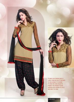 Astonishing Cream & Black Coloured Patiala Suit