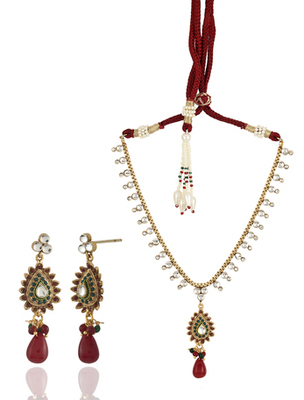 red gold necklace set