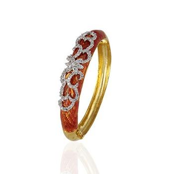 Heena Trendy Dark Orange Enamel Bracelete by Heena Jewellery >> HJBC04 <<