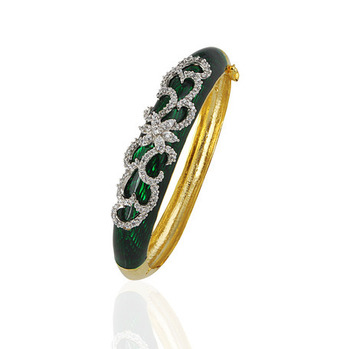 Heena Trendy Dark Green Enamel Bracelete by Heena Jewellery >> HJBC06 <<