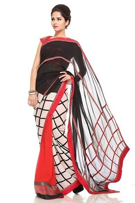 BLACK RED CREAM PATCHWOK GEORGETTE SAREE WITH BLOUSE