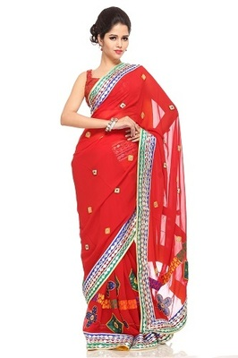 RED GOTA SAREE  WITH MULTICOLOR BORDER APPLIQUE & BEADS WORK YELLOW PIPING&FACING