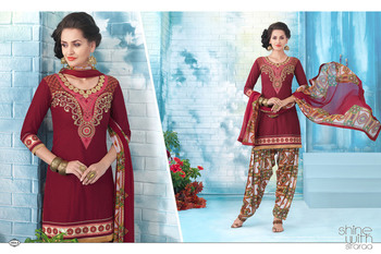 New Maroon Latest Patiala Style Printed Dress