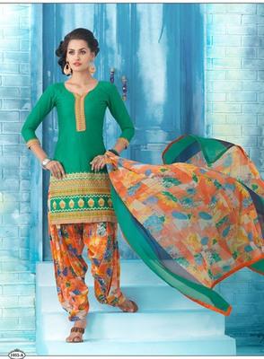 New Cyan Embroidery Work Patiala Dress
