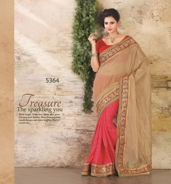 GOLD & PINK HEAVY BORDER SAREE
