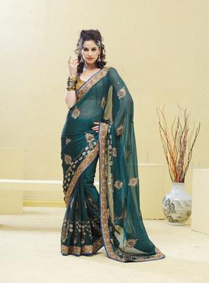 Green Fancy stylish designer Georgette Saree
