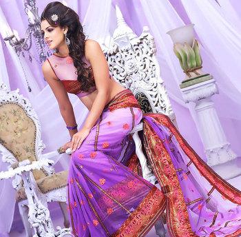 Purple stylish designer Net Saree