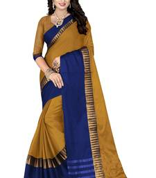 Buy Gold printed cotton silk saree with blouse women-ethnic-wear online